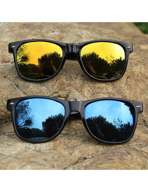 c4b0f2acca5 Skygge Original combo of Unisex Wayfarers Mirrored Blue and Yellow Colour  Sunglasses with Black Frame HD Vision
