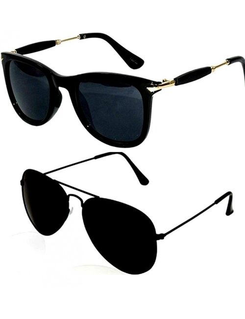 5b3f0adc576 Skygge Original Medium Size Unisex Combo of Wayfarer And Aviators UV 400  Protected Mirrored And Polycarbonate Black Colour Sunglasses With Black  Frame