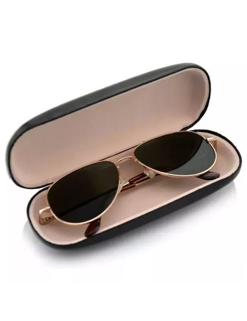 162449f632 Skygge Original Medium Size Unisex Aviators UV 400 Protected Polycarbonate  Black Colour Oval Shape Sunglasses With Golden Frame