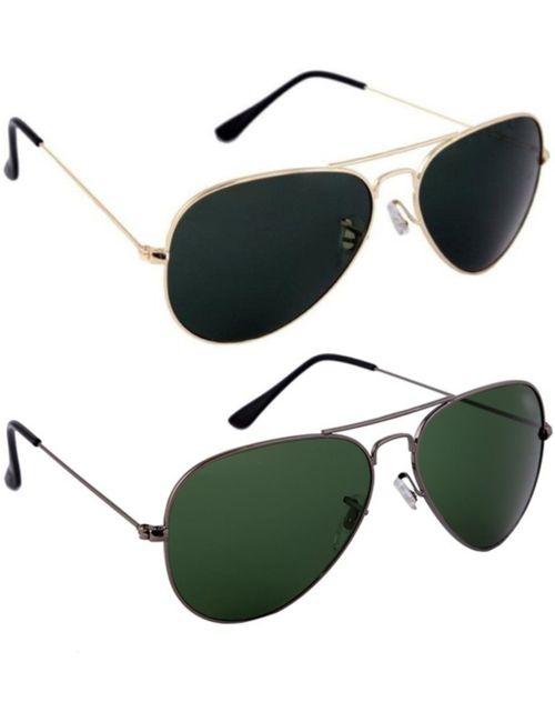 8edfc2ebd9 Skygge Original Unisex Combo Of Aviators UV 400 Protected Polycarbonate  Black Colour Golden Frame And Green Colour Black Frame Sunglasses