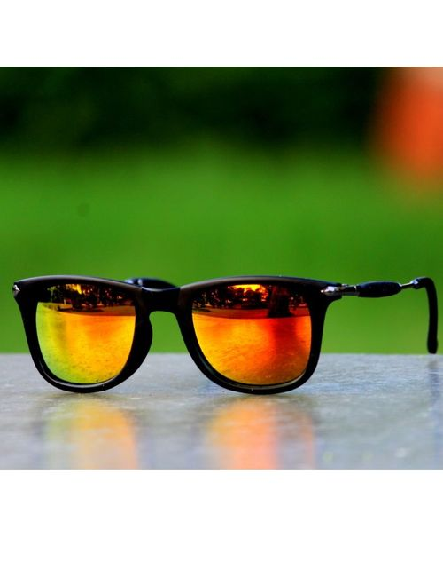 f5236fa6fc Skygge Original Unisex Wayfarer HD Vision Mirrored Orange Colour Sunglasses  With Black Frame Material Cellulose Acetate