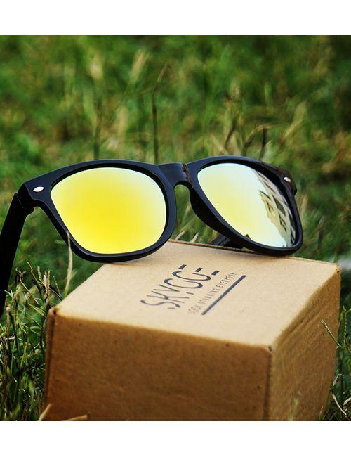 bdb6700c1c Skygge original wayfarer yellow mirror lens black shiny plastic jpg 500x650  Unisex plastic men black shades