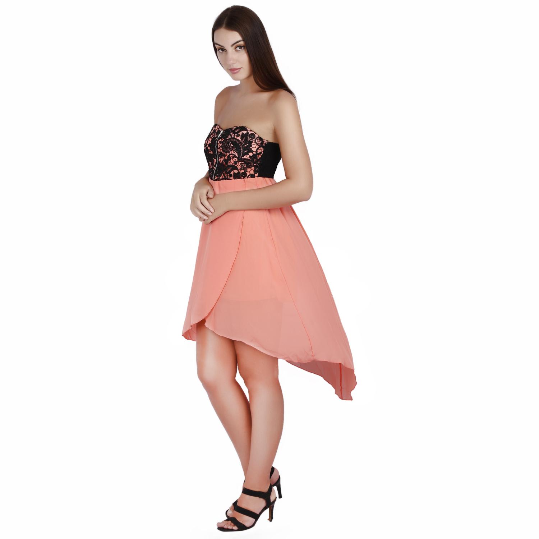 b9a3e637bb JAUNE Peach Tube Chiffon Skirtout Dress