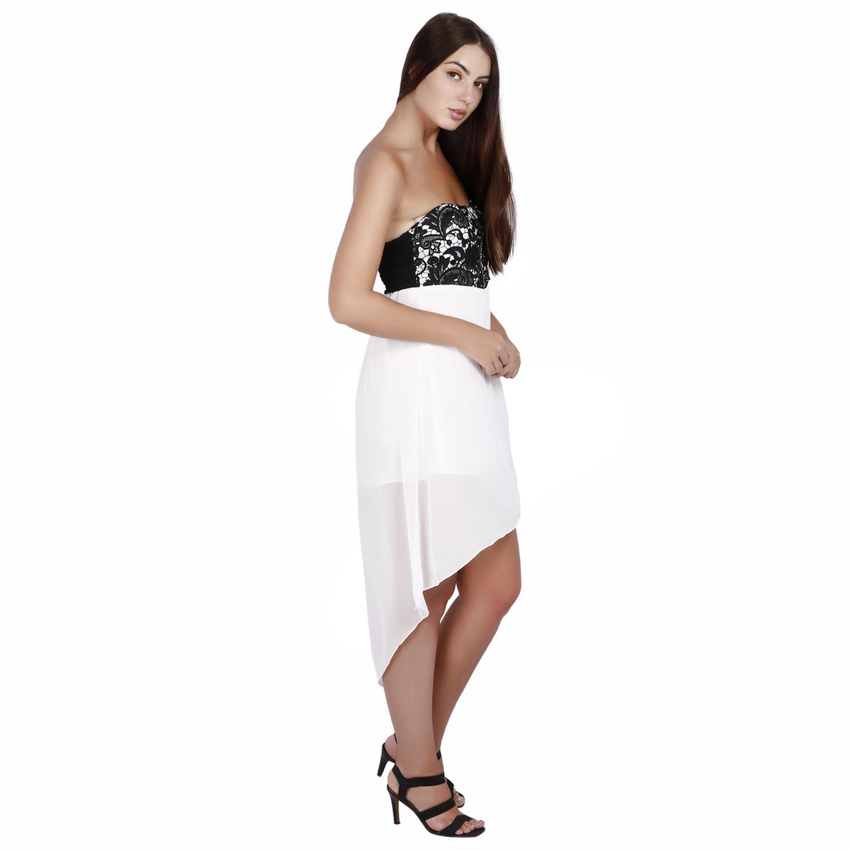 87fed507fa JAUNE White Tube Chiffon Skirtout Dress