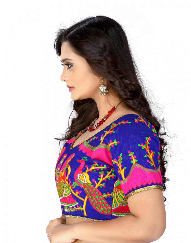 8ad2d9135802e9 Kuvarba Fashion Blue Banglori Silk Readymade embroidery designer saree  blouse