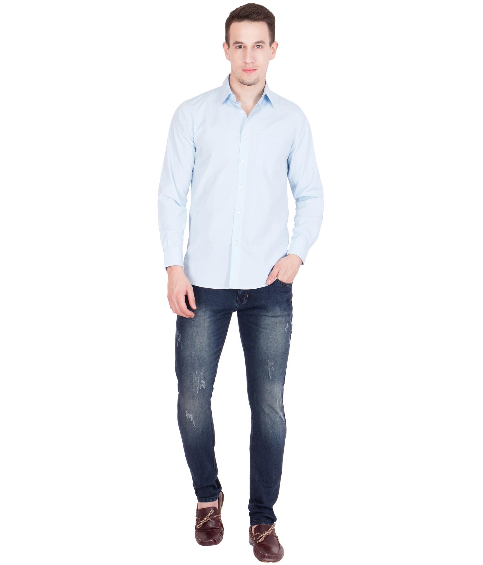 d4ba933915c8 American-Elm Men s Cotton Full Sleeves Shirt- Light Blue
