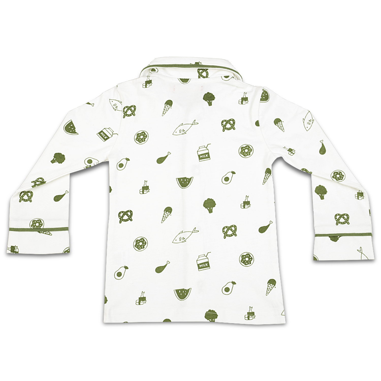 7f25451292 Olele Boys Foodie Print Cotton Night Suit with Olive Green Pajama ...