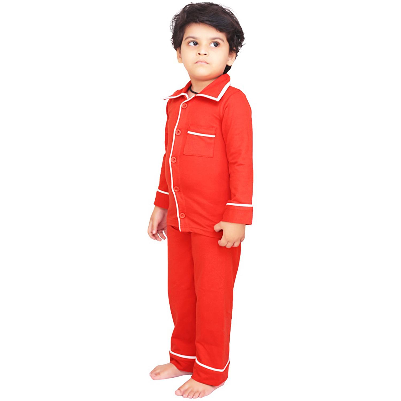 0c87b81092 Olele Boys Tomato Red Cotton Full Sleeves Night Suit with Pajama ...
