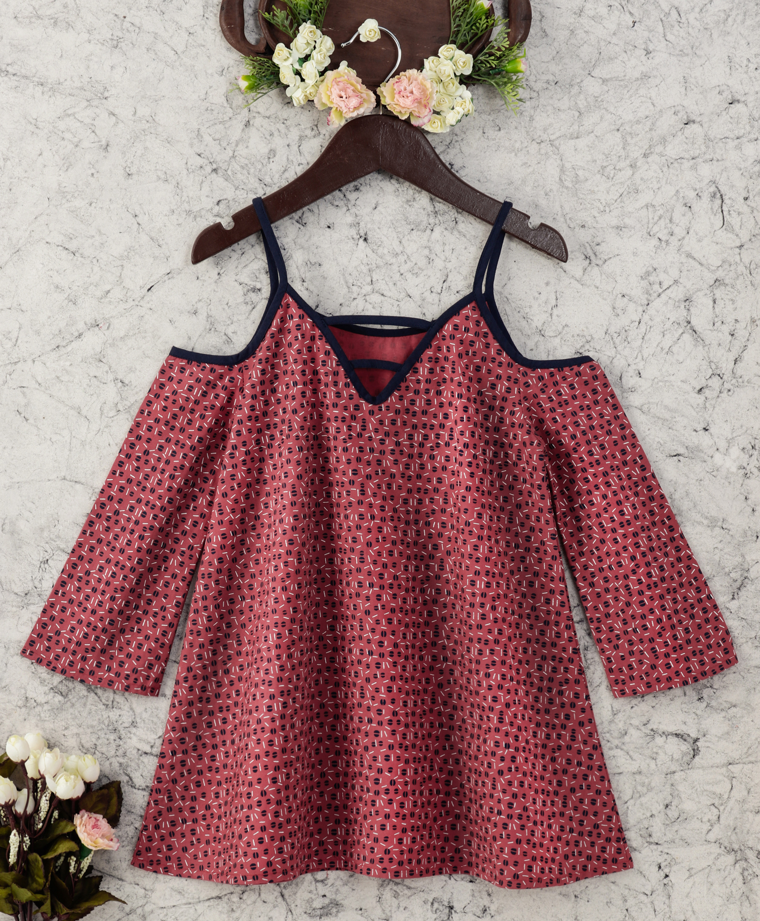 01c06856c463f Olele Girls Edie Dot Brick Red Dress   cold shoulder top for 6 year girl