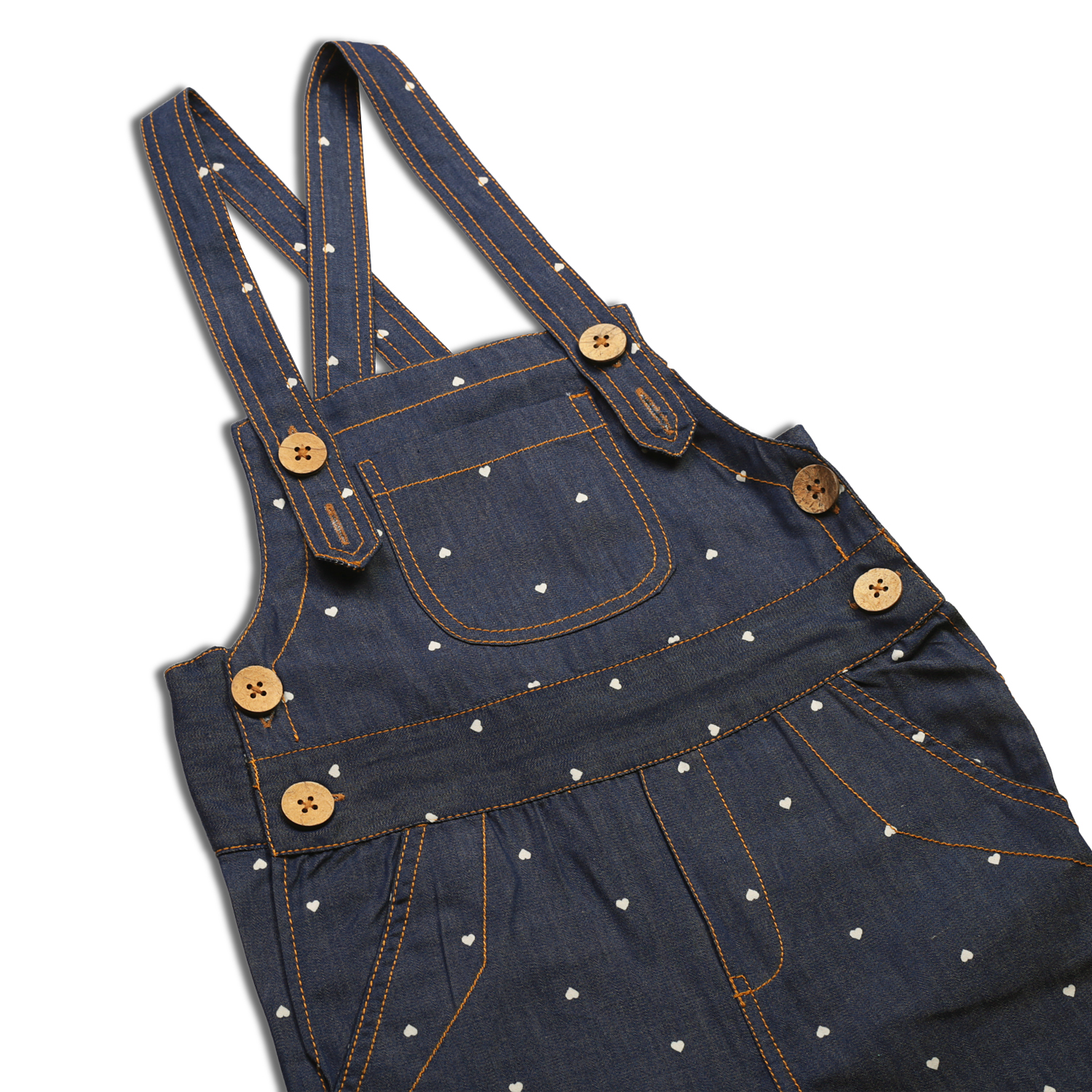 08d04d776 Olele Heart Print Denim Dungaree with Contrast Hem Fold and Lining ...