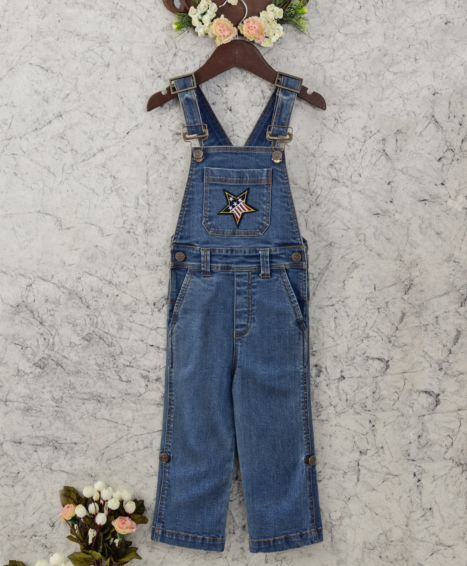 642b91303 Olele Star Patch Denim Dungaree for Boys