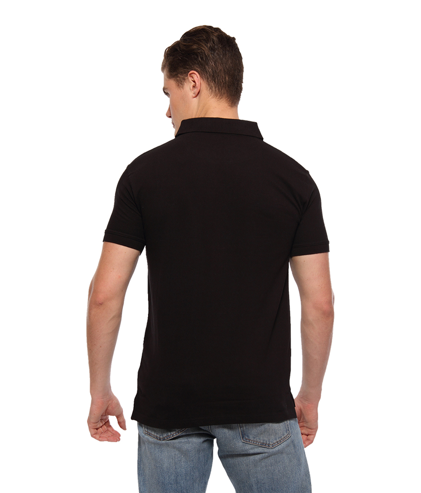 6dcfc1bf712 Youthen Solid Men s Polo Neck Black T-Shirt 04