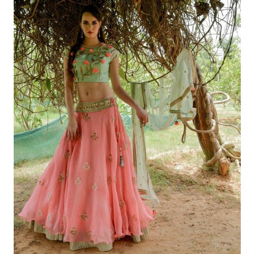 aa199487ed59a Greenvilla Designs Peach And Blue Banglori Silk Lehenga