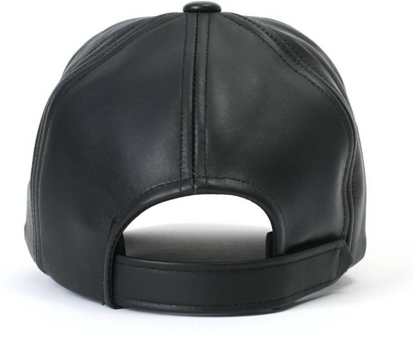 7e70d129334 Alamos Solid Black Plain Leather Baseball Cap