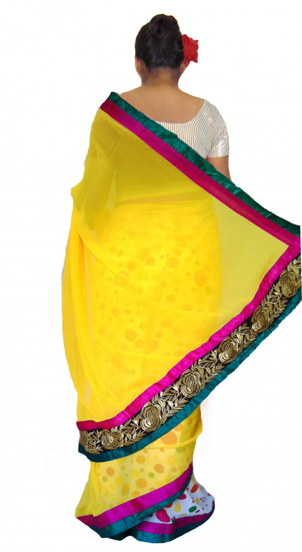 8b06f58b42 Viukart Yellow Half   Half Party Wear Embroidery Saree