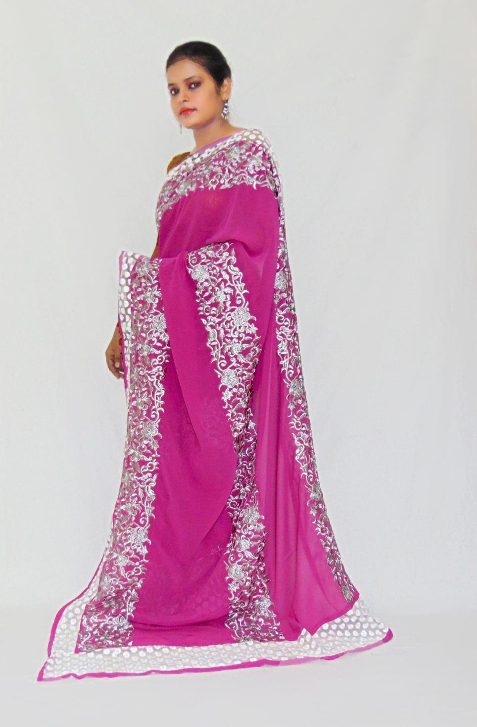 e07d1c5288 Viukart Pink Designer Embroidery Party wear Saree