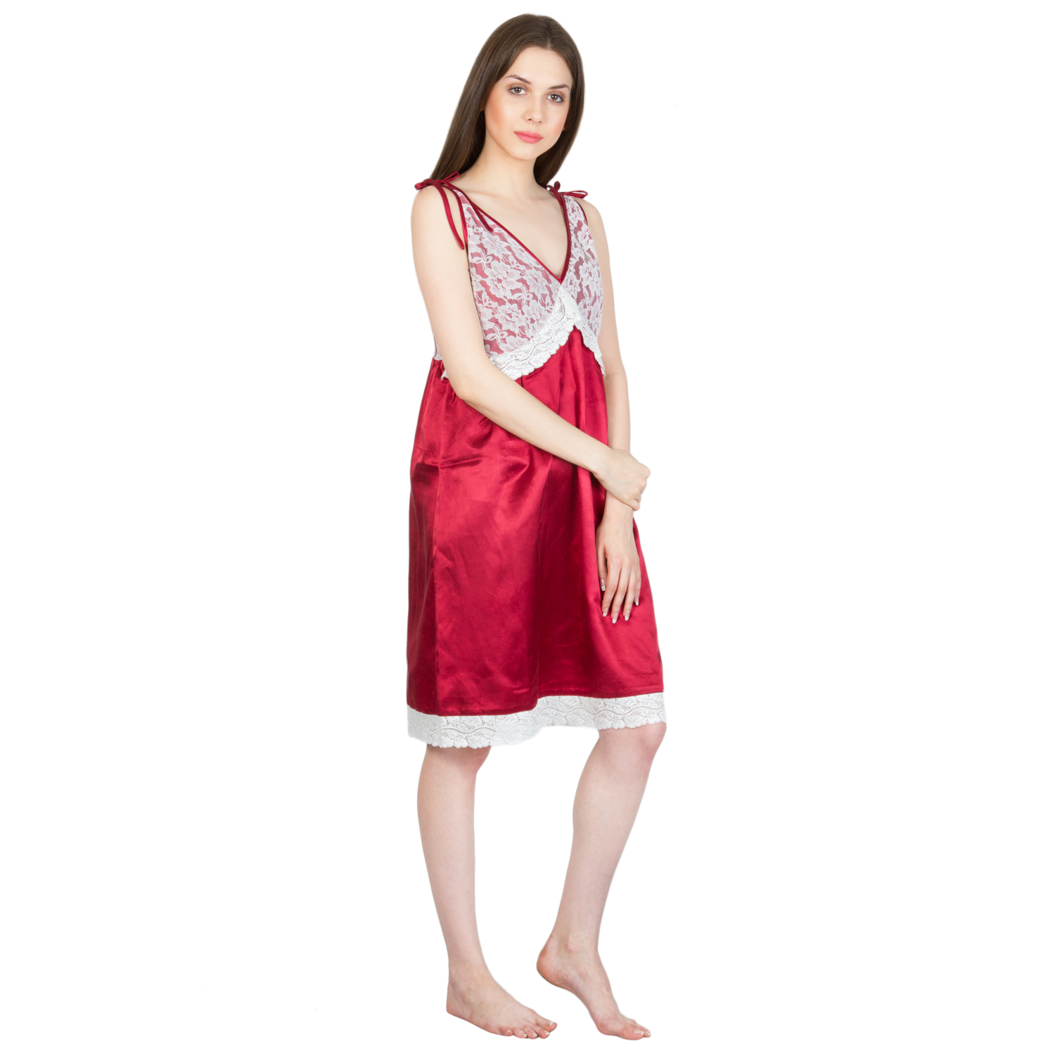 Patrorna Short Length Two Piece Bone Red Stylish Natural Fabric ... eac15ce0e
