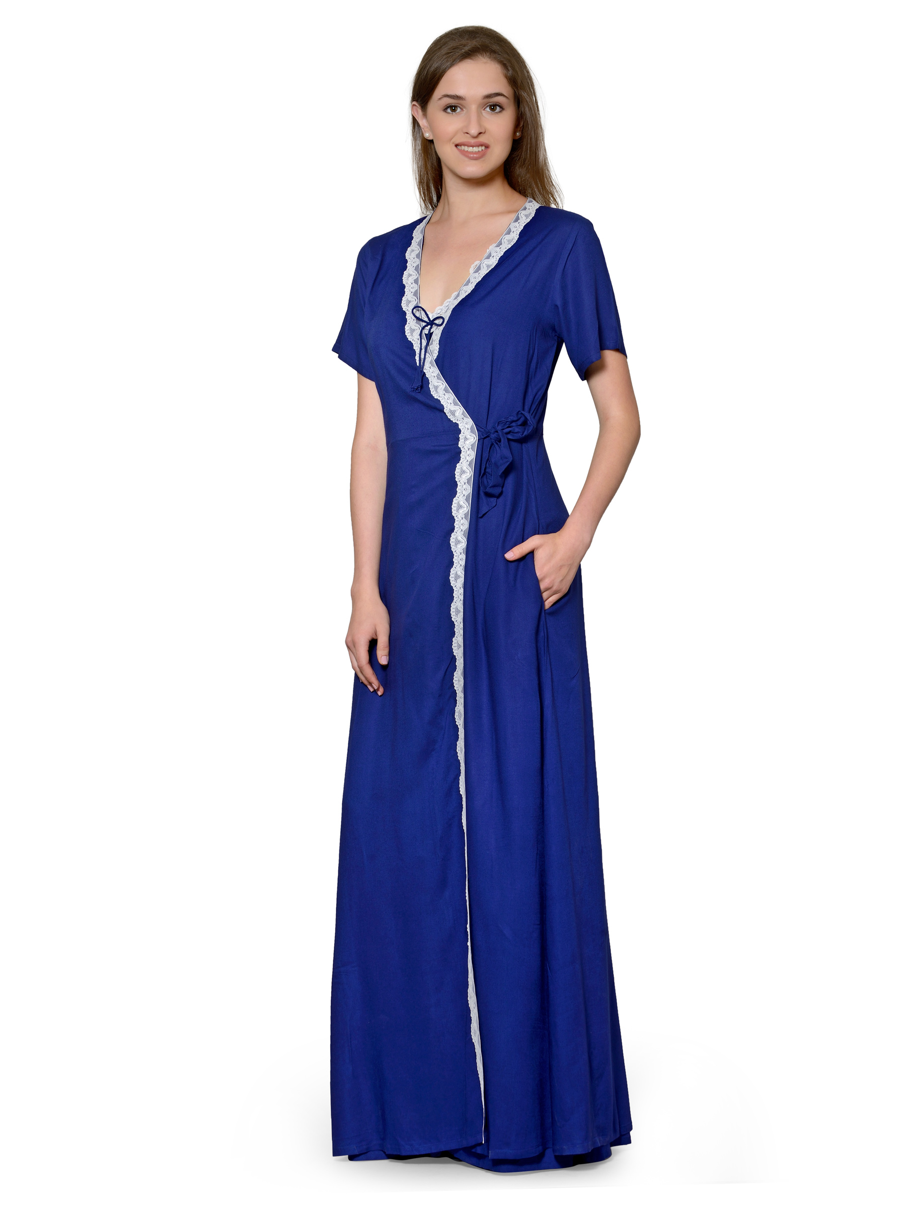 Patrorna Two Piece Navy Blue Natural Fabric Nighty with Robe 6126120fd