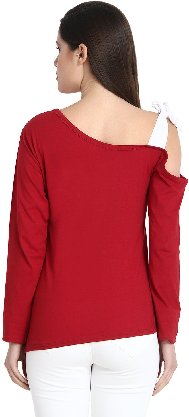 d045f24fe9c3 BuyNewTrend Cotton Maroon Long Sleeve Cut Out Shoulder Top For Women