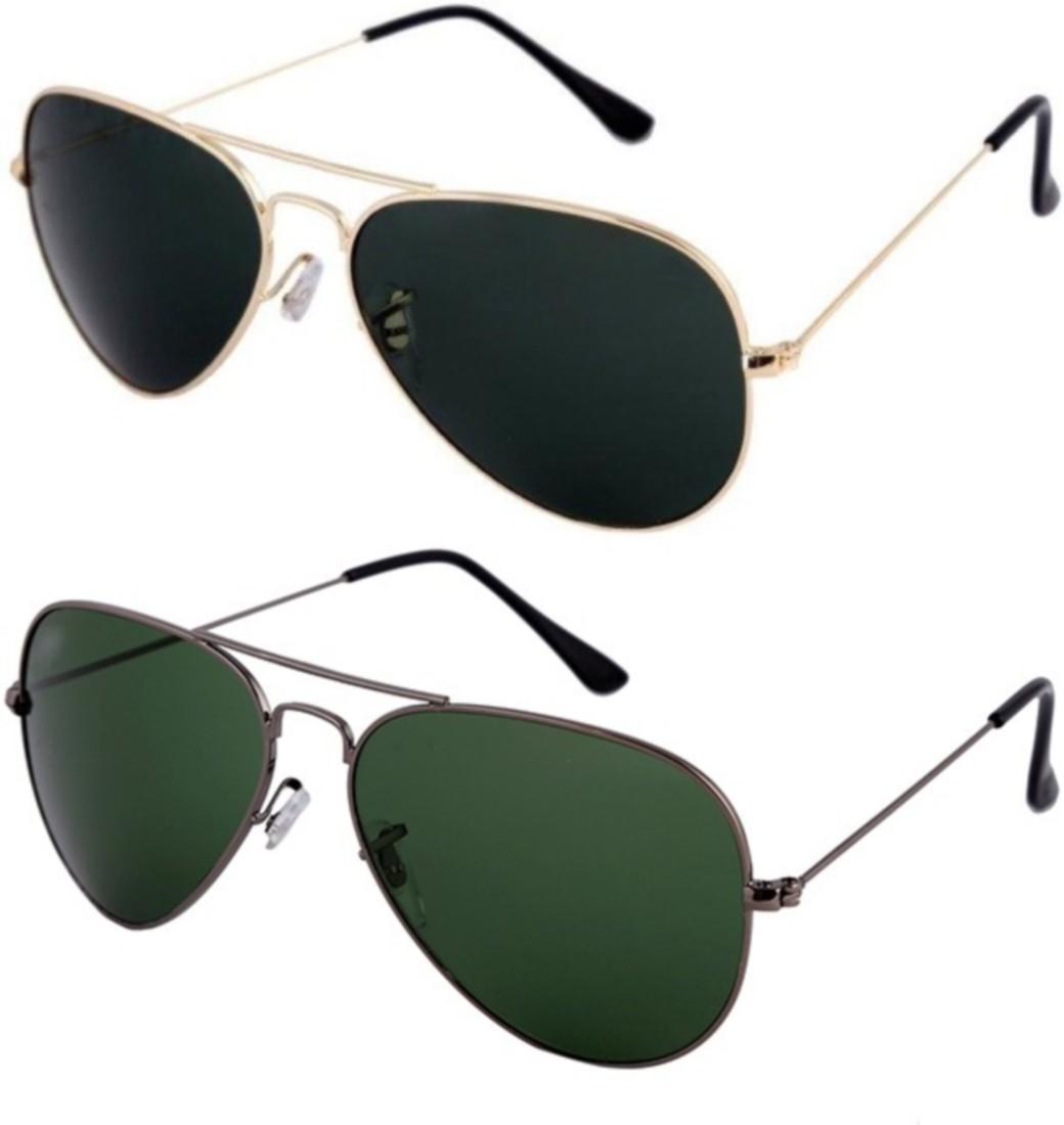 e042c1a8657 Skygge Original Unisex Combo Of Aviators UV 400 Protected Polycarbonate  Black Colour Golden Frame And Green Colour Black Frame Sunglasses