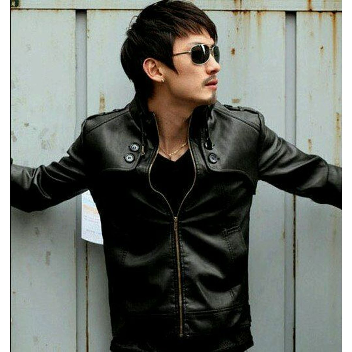 Italiano TUCCI Vintage Slim Fit Padding Style Designer Mens Semi Leather Jacket Black P04