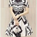 Sophisticated Abstract Design Monochrome Mini Dress