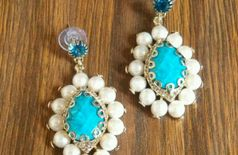 GlitzNGlow Ethnic Blue Earrings with White Blue Crystals