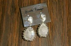 GlitzNGlow Silver Tone Stylish Stone Mesh Earrings