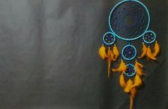 Indian Talisman Blue Orange Dreamcatcher, Wall Hanging