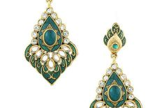 Gold Toned Earrings Adorned With Green Stones