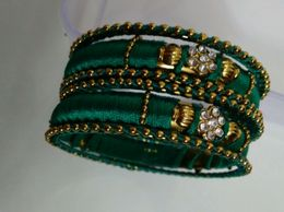 Thread and Stone Bangles Green