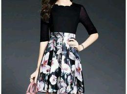 Classy Black Floral Print A Line Pleated Dress