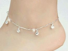 Silver Plated 5 Bell Anklet. One piece.