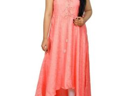 Angel Monica Peach Color Kurti Up And Down Pattern