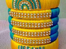 Bliing Handcrafted Designer Bridal Silk Thread Work Bangles