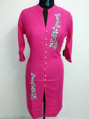 Rayon Pink Embroidery Kurti