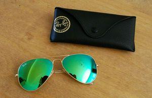 Ray Ban Stylish Green Gold Flash Mirror Fancy Aviator 3026 sunglasses for men women Ben Goggles