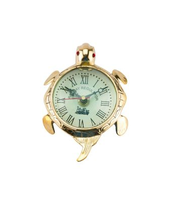Decortive Brass Made Turtle Clock Golden