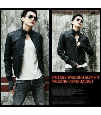 Italiano TUCCI Vintage Slim Fit Padding Style Designer Mens Semi Leather Jacket Black P07