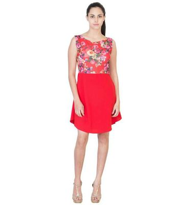 Ocean Trench A Line Red Floral Womens Dress