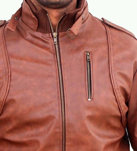 GET JEALOUS Brown Faux Leather Jacket For Men