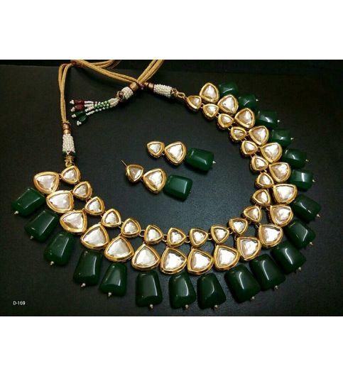 AD Kundan Wid Green Emerald N Maroon Ruby Drop