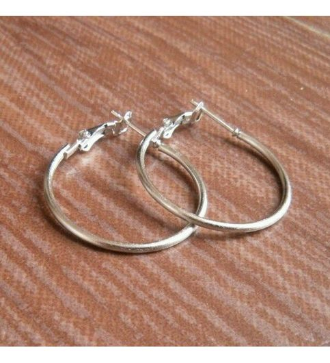 GlitzNGlowClassic Silver Round Ring Earrings