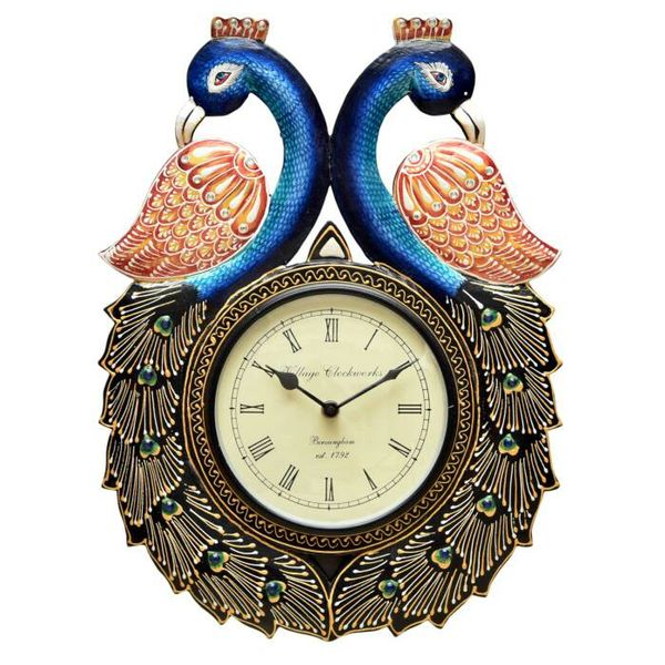Peacock Design Wooden Wall Clock