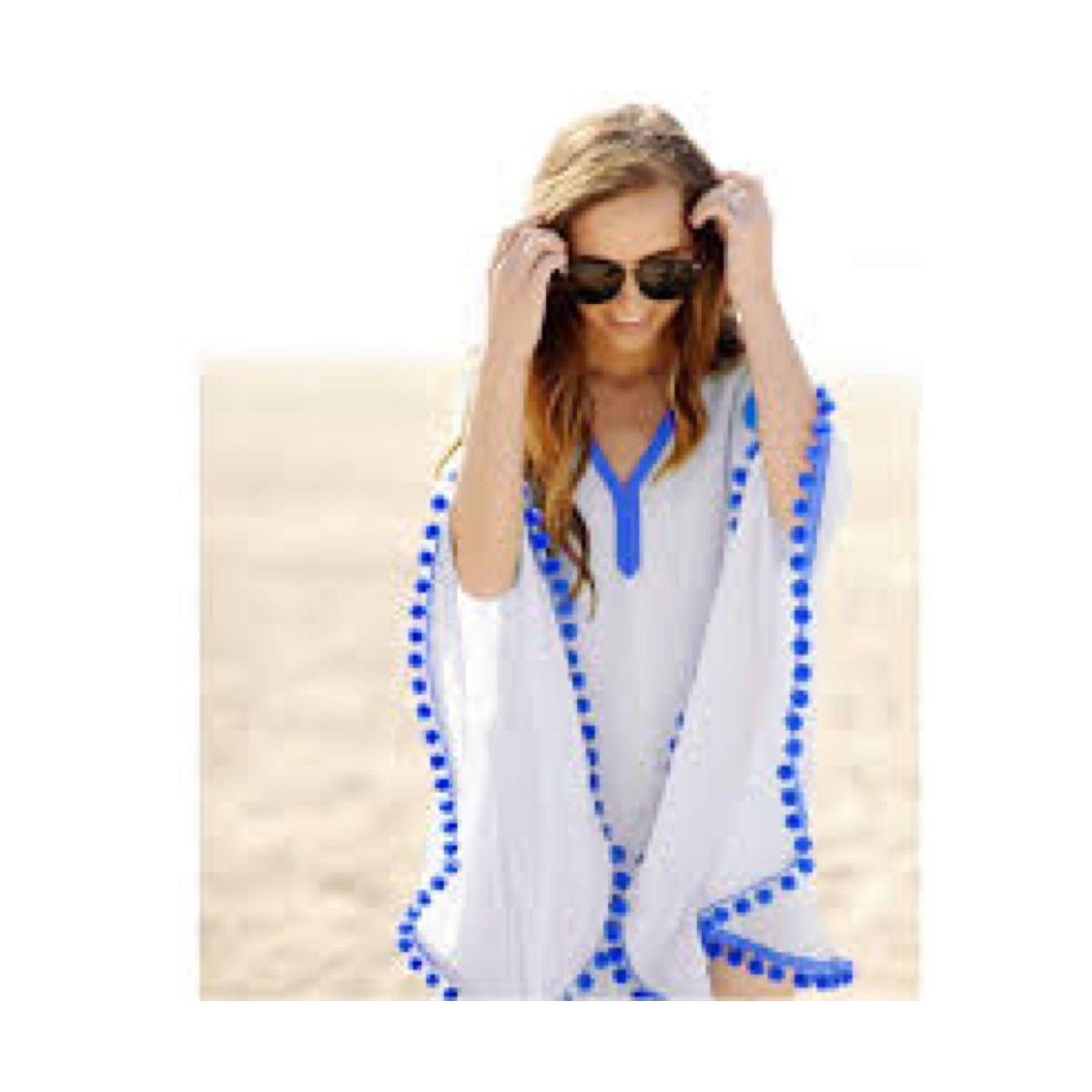 In Trend White Kaftan Top with Blue Pom Pom