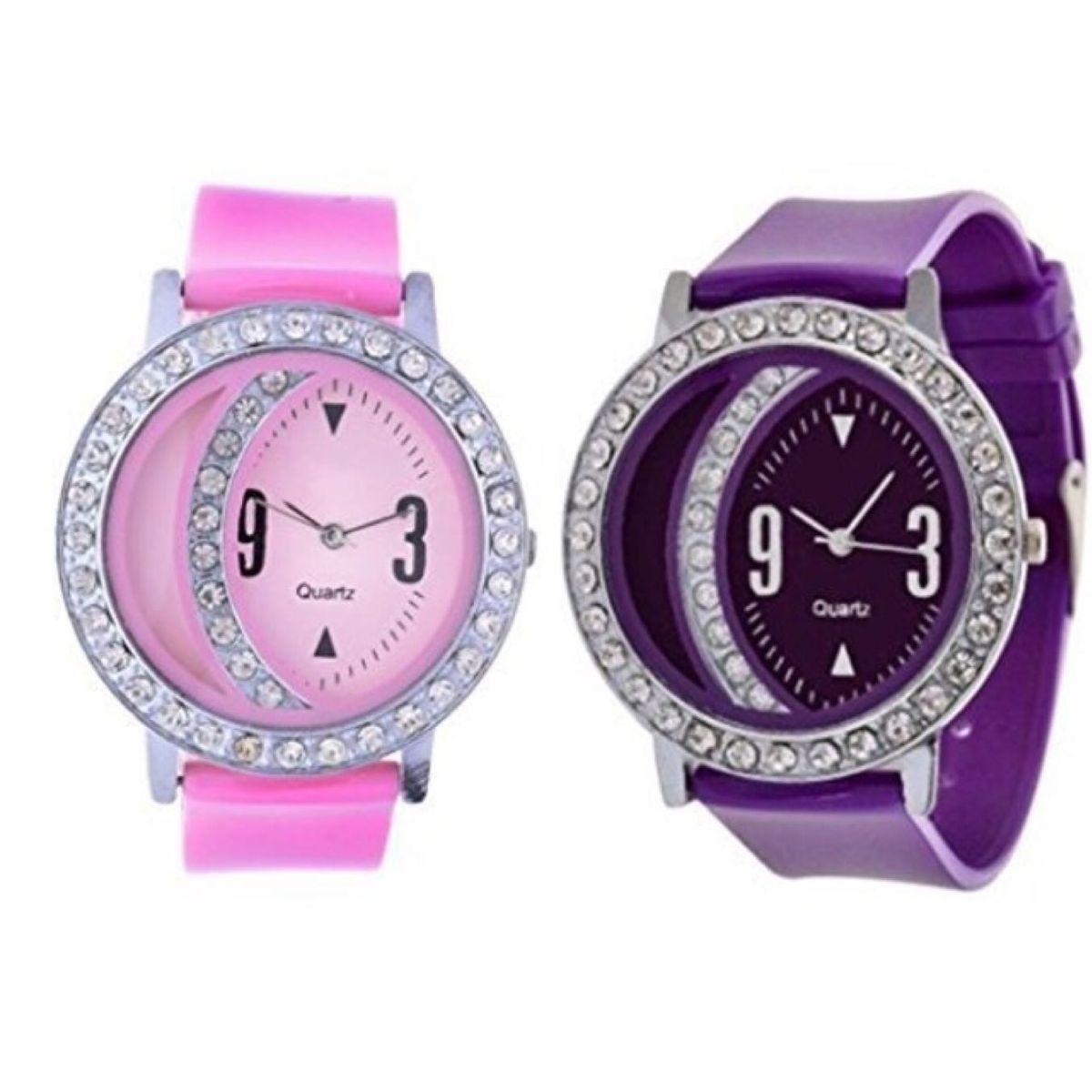 Pink And Purple Women Wrist Watch
