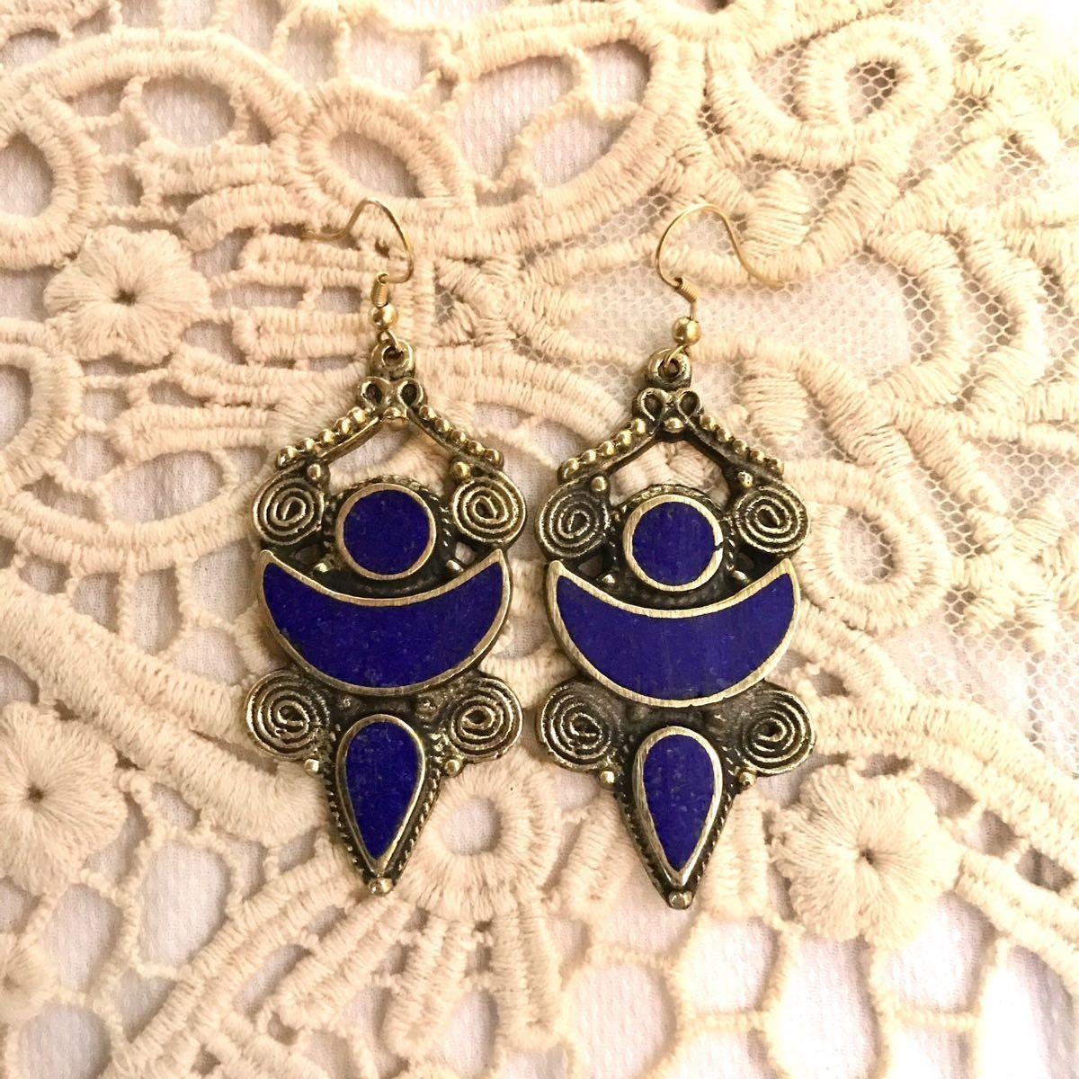 brass earrings- blue