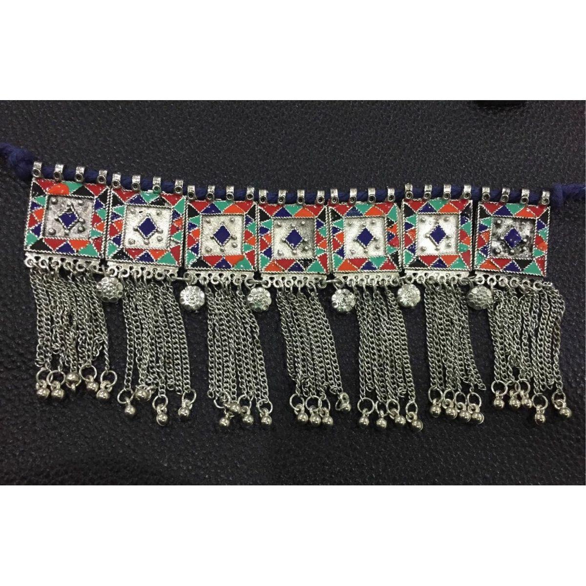 Oxidised jewellery afghani silver oxidised choker in multicoloured enamel