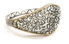 American diamond oxidised lock system bracelet