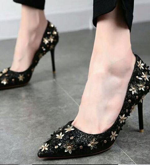 exclusive black flowery heels